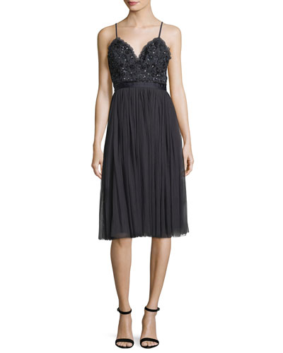 Midnight-Lace Sleeveless Midi Cocktail Dress