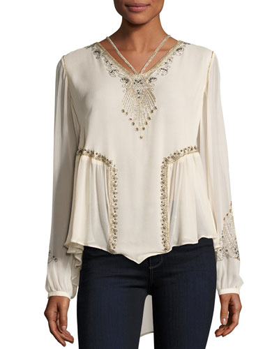 Galaxy Long-Sleeve Embellished Silk Top