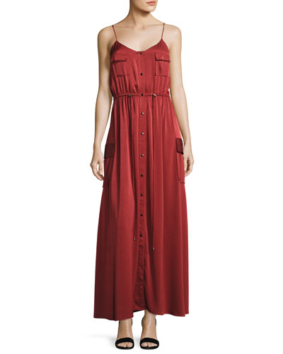 Born Again Safari Button-Front Maxi Dress
