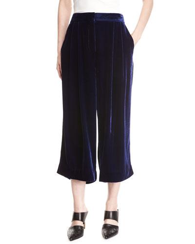 Silky Velvet Mid-Rise Culotte Pants