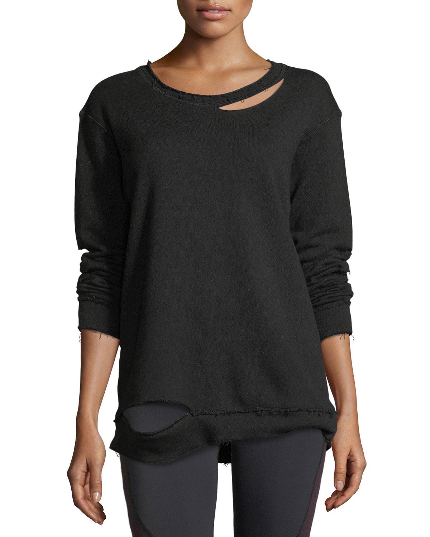 Alala Cypher Crewneck Slashed Cotton Pullover Sweatshirt