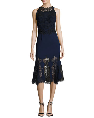Thread Mesh Window Lace Trumpet Midi Dress