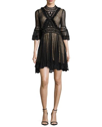 Crochet Panel Corded Mesh Mini Dress