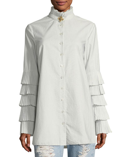Pleated Long-Sleeve Button-Front Poplin Blouse