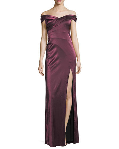 Banded Satin Off-the-Shoulder Evening Gown