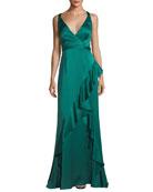 Sleeveless Asymmetric Ruffled Satin Evening Gown