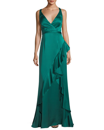Sleeveless Asymmetric Ruffled Satin Evening Gown