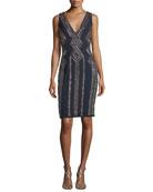 Sleeveless V-Neck Geometric-Beaded Cocktail Sheath Dress
