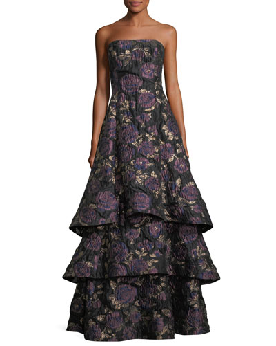 Floral Metallic Brocade Tiered-Skirt Evening Gown