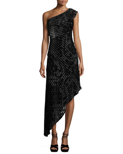 One-Shoulder Striped Devoré Asymmetric Cocktail Dress