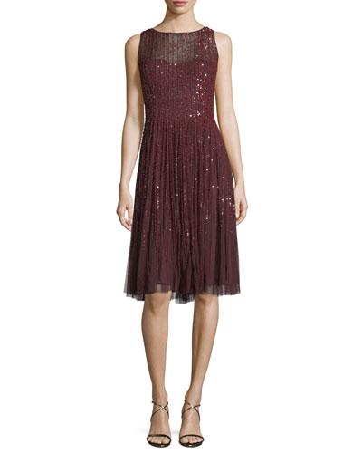 Sleeveless Embellished A-Line Cocktail Dress