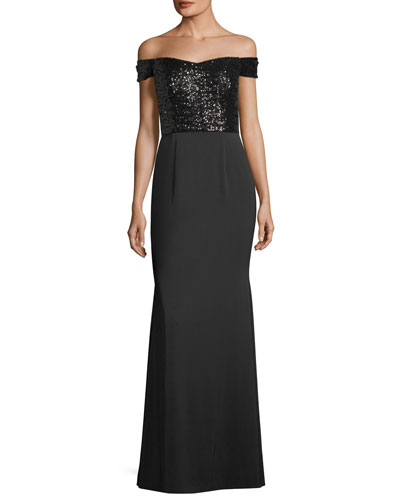 Off-the-Shoulder Sequined-Bodice Evening Gown