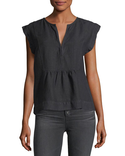 Trista Split-Neck Cap-Sleeve Denim Top