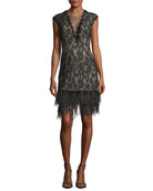 V-Neck Cap-Sleeve Lace Cocktail Dress w/ Feather Hem