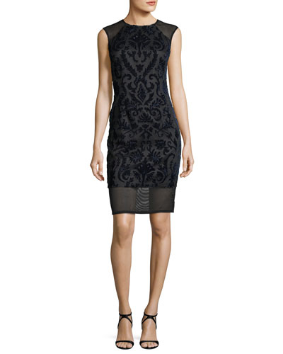 Sleeveless Flocked Velvet Cocktail Sheath Dress