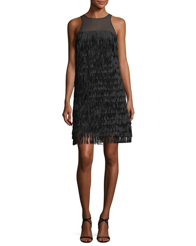 Sleeveless Fringed Illusion Cocktail Dress