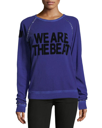 We Are The Beat Fuzzy Studded Raglan Sweatshirt