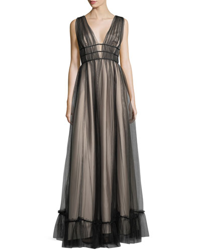 Ruth Sleeveless Plunging Evening Gown