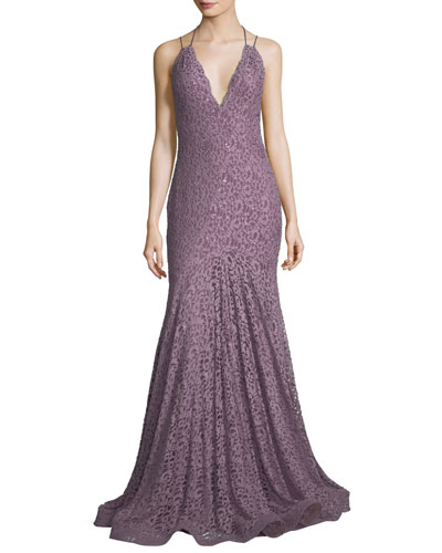 Halter Open-Back Sequined Lace Evening Gown