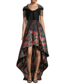 V-Neck Velvet Bodice High-Low Evening Gown w/ Floral Jacquard Skirt