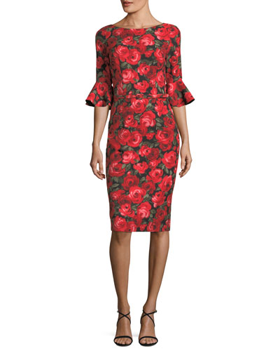 Floral-Print Trumpet-Sleeve Sheath Dress