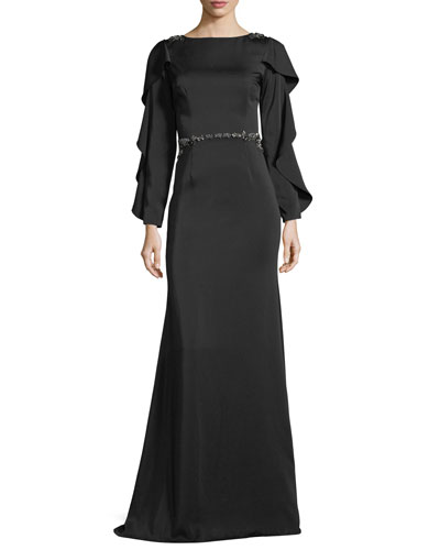 Bateau-Neck Slit-Sleeve Illusion-Back Evening Gown