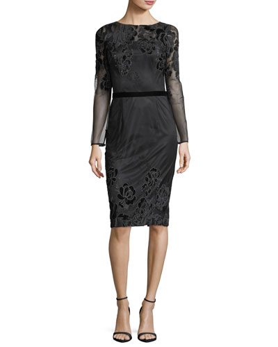 Long-Sleeve Lace Velvet Devoré Sheath Cocktail Dress