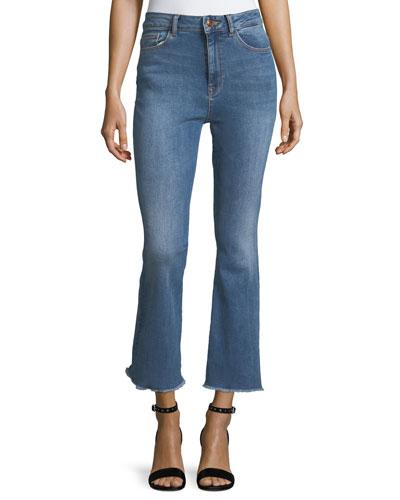 Jackie Trimtone Crop Flare Jeans in Marker