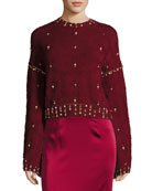 Metador Embellished Crewneck Bell-Sleeve Wool Sweater