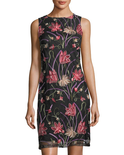 Floral-Embroidered Sleeveless Dress