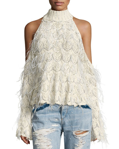 Sparkle Knit Feathered Cold-Shoulder Turtleneck Sweater