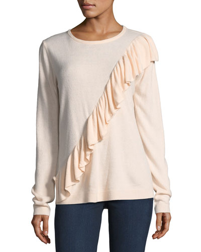 Cascade-Ruffle Crewneck Sweater