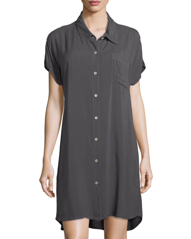 Button-Front Dolman-Sleeve Dress