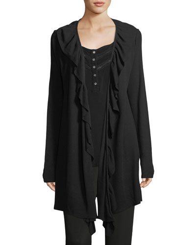 Thermal Ruffled-Trim Cardigan