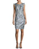 Stefana Shimmery Jacquard Sheath Dress