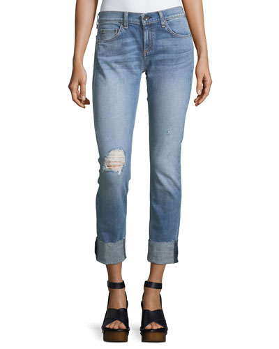 Dre Slim-Fit Boyfriend Jeans w/ Distressing