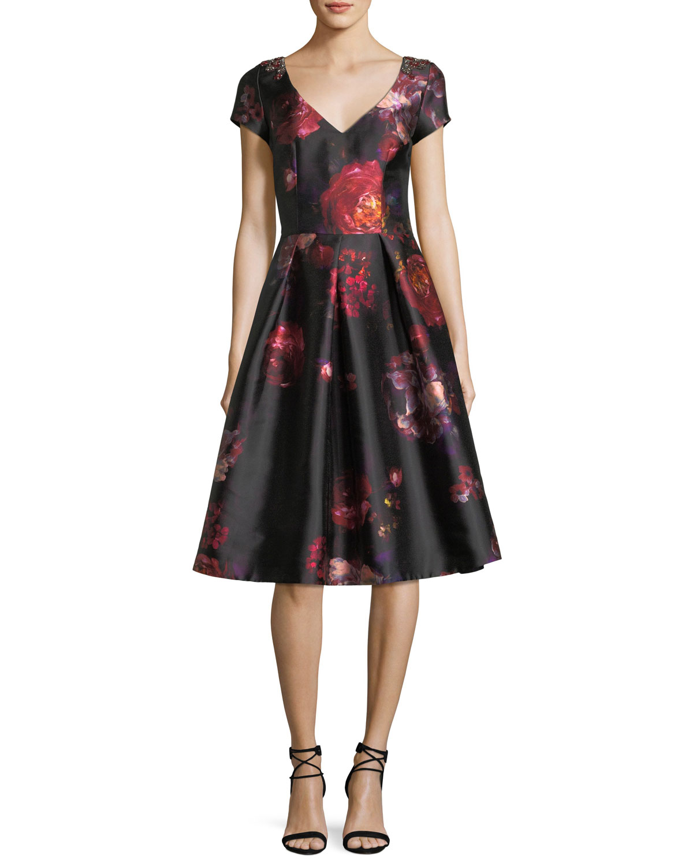 Short-Sleeve Floral-Brocade Cocktail Dress w/ Jeweled Embellishments