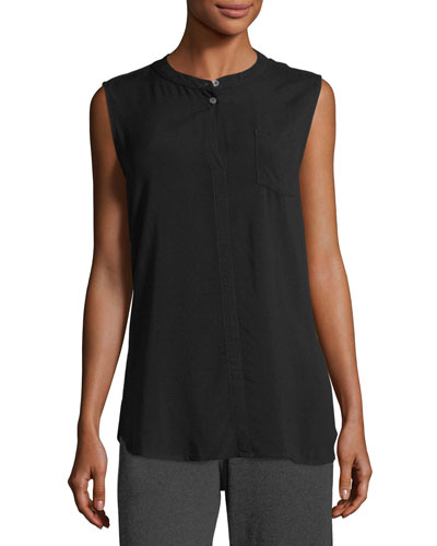 Mandarin-Collar Sleeveless Shirt