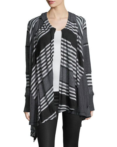Hooded Patchwork Drape Cardigan