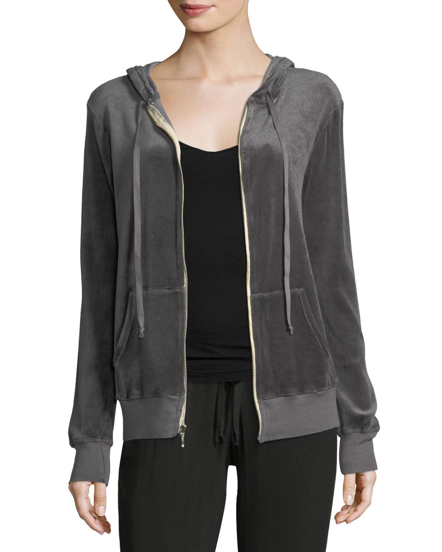 Hooded Zip-Front Velvet Jacket