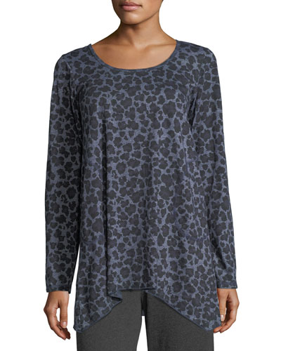 Leopard-Print Scoop-Neck Tee