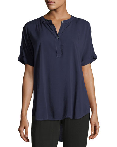 Tab-Collar Short-Sleeve Henley Shirt