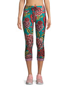 Feather NYC 3/4 Floral-Print Leggings