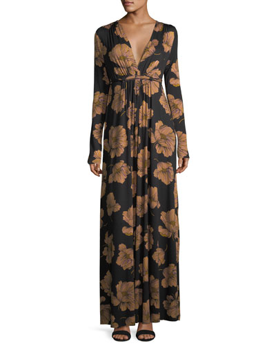 Long-Sleeve Full-Length Caftan Dress, Plus Size