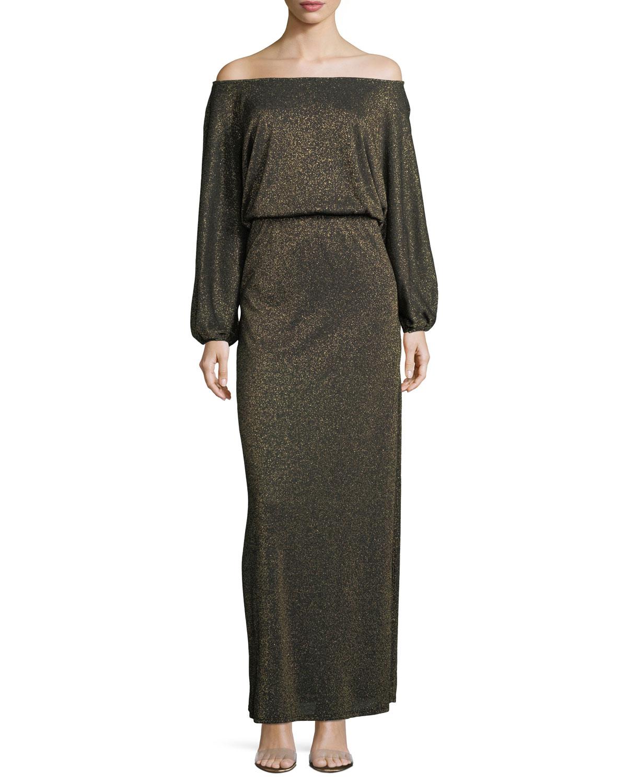 Seaton Off-the-Shoulder Lurex Long Sweaterdress