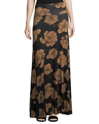 Long Printed Full Skirt, Matilija, Plus Size