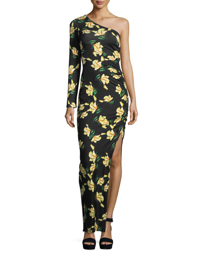 Fontaine Floral-Print One-Shoulder Dress, Plus Size