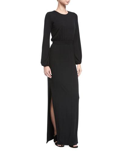 Clairah Long-Sleeve Side-Slit Maxi Dress