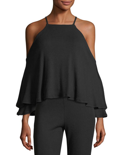 Marvin Luxe Rib-Knit Cold-Shoulder Top