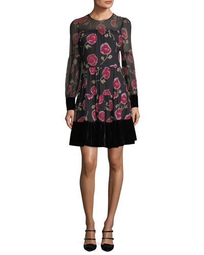 rose-print long-sleeve chiffon mini dress